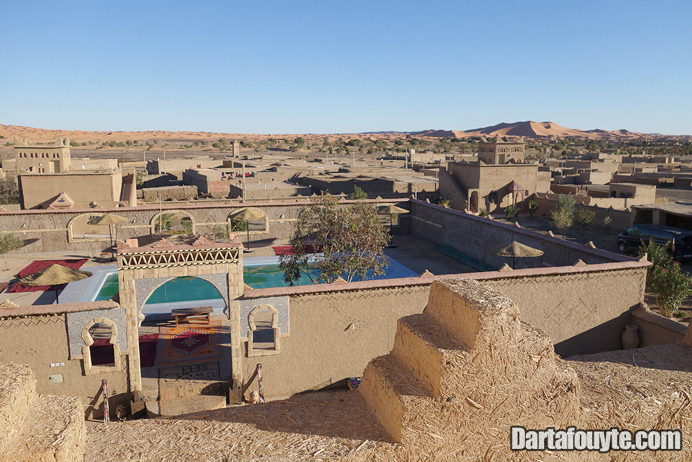 Merzouga Hotel terrace view